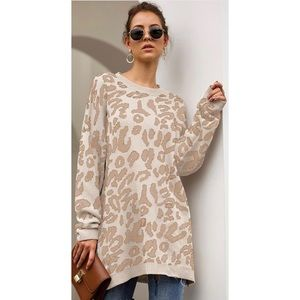 Leopard Print Crewneck Tunic Sweater in Cream